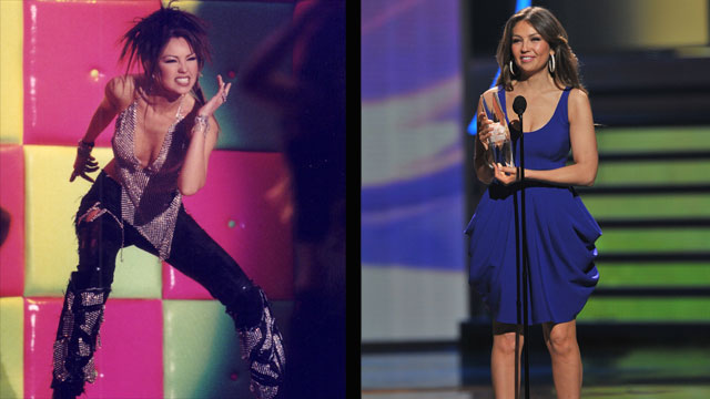 PHOTO: Thalia at Premio Lo Nuestro in 2001 and in 2010.