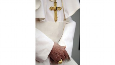 PHOTO:The hands of Pope Benedict XVI are seen after he arrived on September 22, 2011 at the Tegel airport in Berlin, where he starts his first state visit to his native Germany.