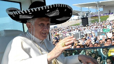 PHOTO:Pope Benedict XVI wearing a Sombrero in Bicentennial Park near Silao, Mexico.