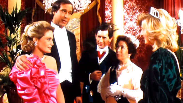 "PHOTO: Screenshot from a ""European Vacation"" with Chevy Chase, with a spoof cameo by Queen Eliabeth II."