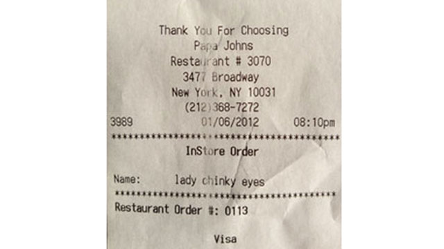 Papa John's has apologized after an employee typed a racial slur on a receipt to a customer at one of its locations in New York City, January 2012.