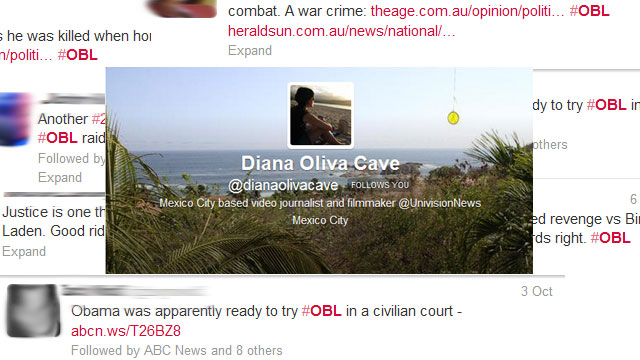PHOTO: Reporter Diana Oliva Cave's most notable Twitter experience.