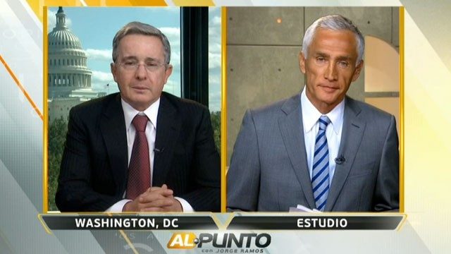 PHOTO: Univision's Jorge Ramos interview Colombia's ex-president Alvaro Uribe.