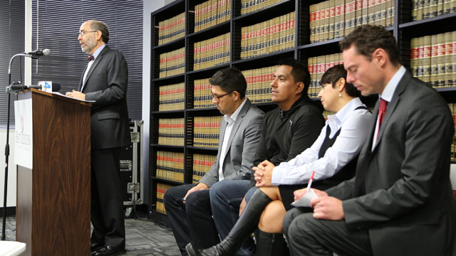 PHOTO: Michael Rubin, attorney for warehouse workers, speaks at a press conference in Los Angeles.