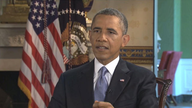 PHOTO:President Barack Obama is interviewed by WXTV Univision 41s Adriana Vargas on July 16, 2013.
