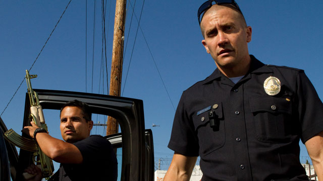 PHOTO: Michael Peña and Jake Gyllenhaal patrol the mean streets of Los Angeles in their new action thriller, End of Watch.