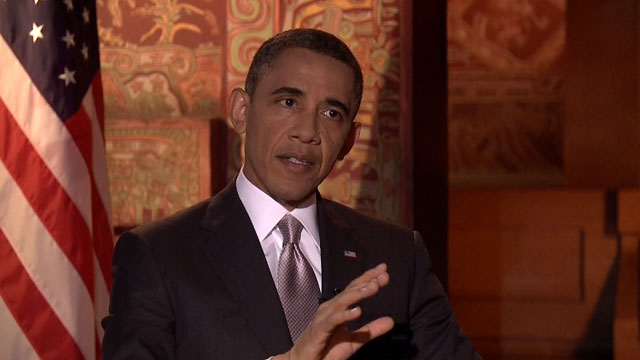 PHOTO:President Barack Obama is interviewed by Univision News anchor Maria Elena Salinas in Mexico City, May 3, 2013.