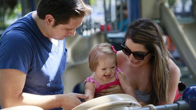 PHOTO:Valentina with her parents Juan Fernando Guerrero and Cecilia Elizalde, at home in Miami.