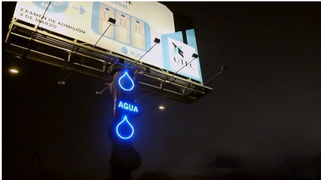 PHOTO:&nbsp;Billboard filters air humidity providing drinking water for residents in Lima, Peru.