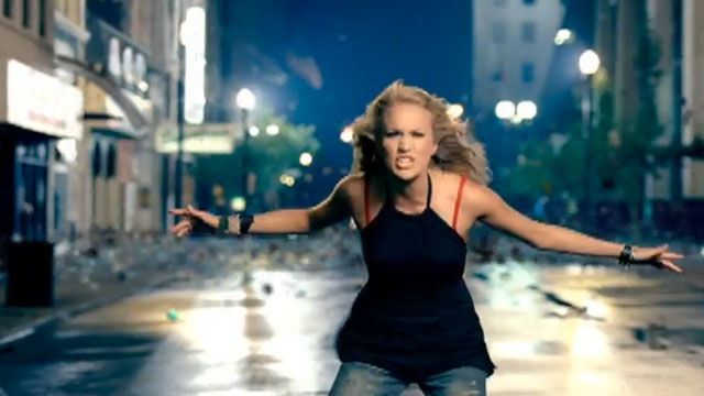 "PHOTO: Screenshot from Carrie Underwood's ""Before He Cheats"" music video."