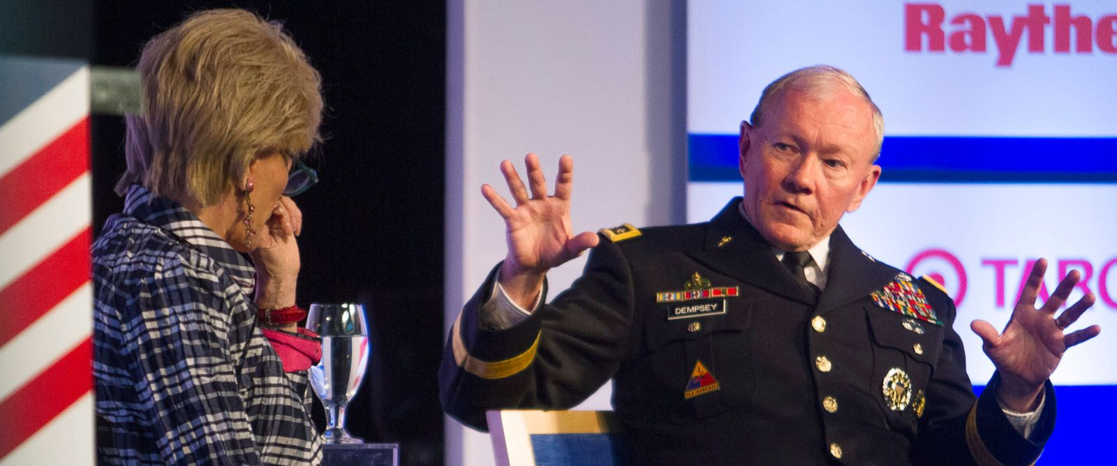 """PHOTO: Gen. Martin Dempsey, right, Chairman of the Joint Chiefs of Staff, speaks with Lesley Stahl, Correspondent, """"60 Minutes,""""CBS News, during a session of the Aspen Security Forum, in Aspen, Colo., July 24, 2014."""