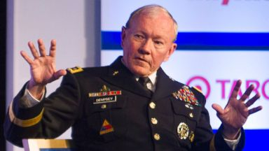 PHOTO: Gen. Martin Dempsey, right, Chairman of the Joint Chiefs of Staff, speaks with Lesley Stahl, Correspondent, 60 Minutes,CBS News, during a session of the Aspen Security Forum, in Aspen, Colo., July 24, 2014.