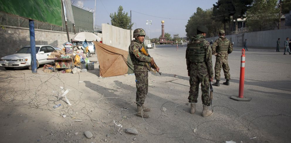 PHOTO: Afghan soldiers during an insurgent attack on the US Embassy near Massood Square, Sept. 13, 2011, in Kabul Afghanistan.