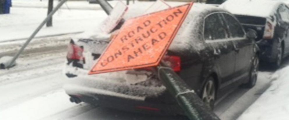 PHOTO: Mike Gavin wrote in to the ABC News Fixer after a light post fell on his car