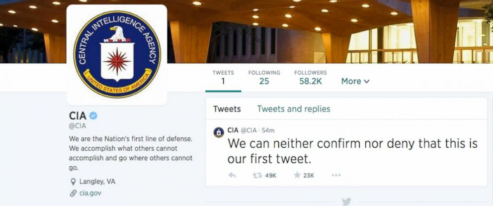 PHOTO: The Central Intelligence Agency joined Twitter June 6, 2014.