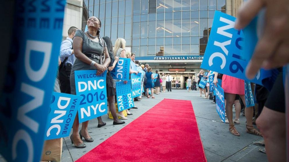 PHOTO: Red carpet laid out for members of Democratic National committee arriving at Penn Station in NYC bid to host Democratic Convention in 2016.