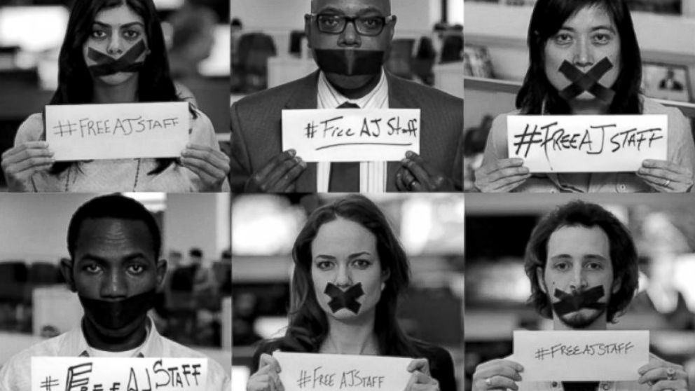 PHOTO: Al Jazeera today launched a Global Day of Action to put pressure on the Egyptian government to release jailed journalists there. Part of the push included a request that supporters use the hashtag #FreeAJStaff on Twitter.