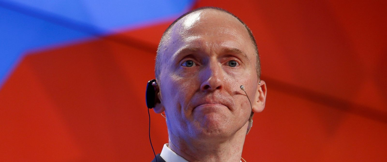 PHOTO: FILE PHOTO: One-time advisor of President Donald Trump, Carter Page addresses the audience during a presentation in Moscow, Dec. 12, 2016. REUTERS/Sergei Karpukhin/File Photo