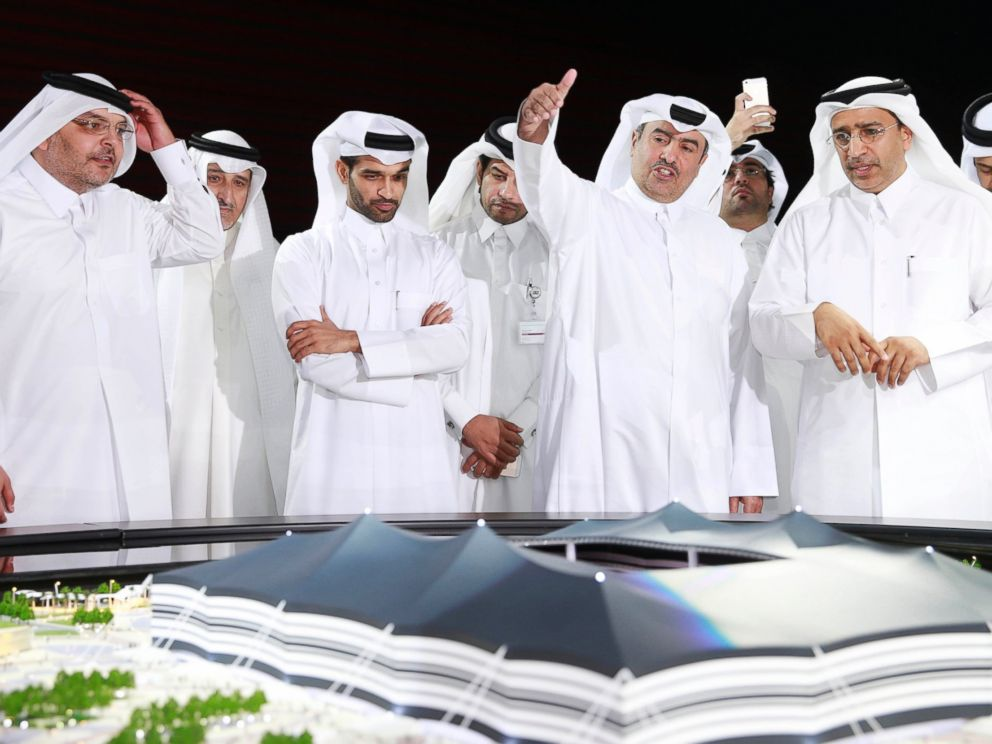 PHOTO: Secretary-General Hassan Al-Thawadi (3rd L) of Qatars Supreme Committee for Delivery and Legacy, the nations 2022 World Cup organizing committee, speaks during a news conference to announce the start of work on the Al-Khor Stadium, June 21, 2014