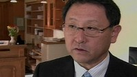 Akio Toyoda, Toyota?s president and CEO apologized to his customers for causing them so much worry in a brief interview with the Japanese network NHK as he left his hotel in Davos, Switzerland.
