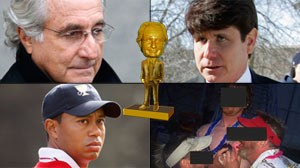 Bernie Award recipients, from upper left: Bernard Madoff, Rod Blagojevich, the Kabul U.S. Embassy contractors and Tiger Woods.
