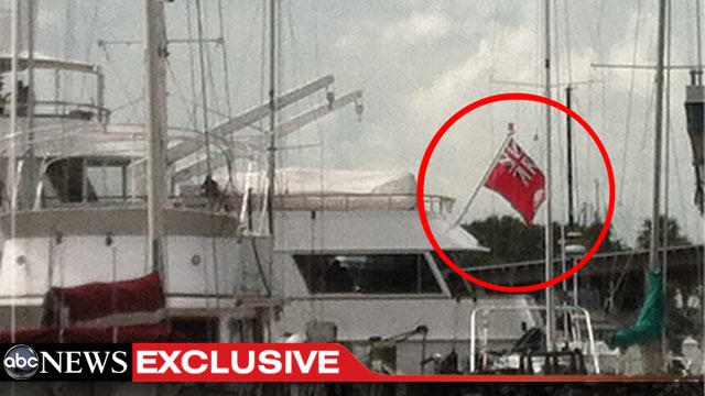PHOTO: The yacht where elite donors of the Romney Victory Council are partying in Tampa flies a version of the Cayman Islands flag. Romney's use of offshore accounts for his investments has come under fire during the campaign.