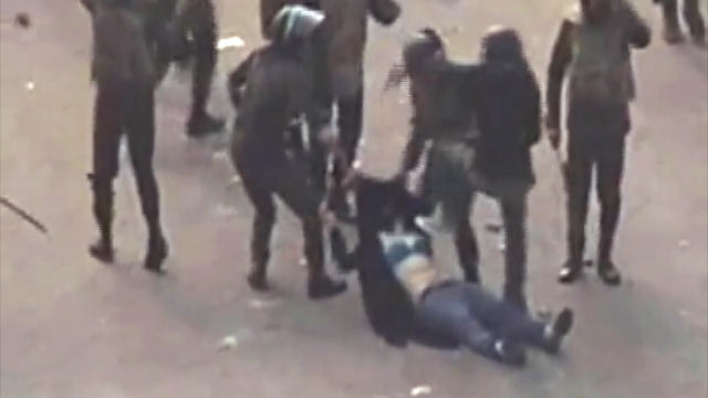 PHOTO: A womans hijab was torn and ripped off when she was dragged, kicked and beaten during protests in Egypt earlier this week, Dec. 21,2011.