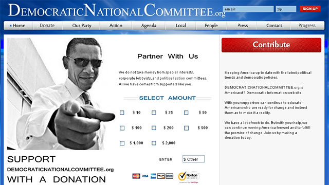 PHOTO: Scam DNC website
