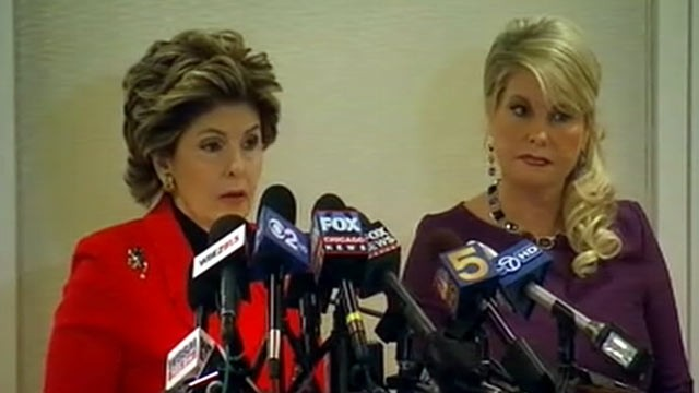 PHOTO: Attorney Gloria Allred and Sharon Bialek, the woman who says she is a victim of Herman Cain's harassment, speak at a press conference at in Chicago, Dec. 5, 2011.