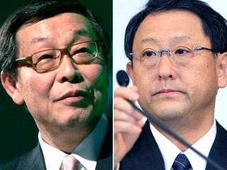 Toyota executives Yoshimi Inaba and Akio Toyoda (Reuters/Getty Images)