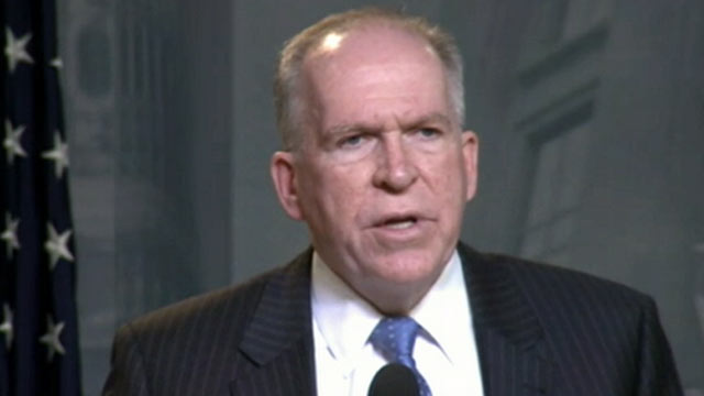 PHOTO: White House counter-terrorism advisor John Brennan delivers remarks defending the U.S. drone campaign against Taliban and al Qaeda militants, April 30, 2012.