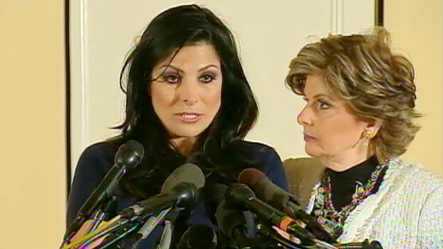 PHOTO: Natalie Khawam speaks to the media while her attorney Gloria Allred stands by her side in Washington, D.C. on Nov. 20, 2012.