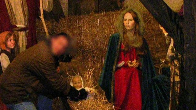 PHOTO: Air Marshals provided ABC News with this photograph that appears to show a manager playing with Baby Jesus inside a nativity scene in Brussels, Belgium.