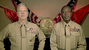 Commandant Gen. James Amos, left, and Sergeant Major Carlton Kent, right, deliver a message to Marines on the repeal of the military?s ?don