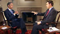 PHOTO Jake Tapper interviews President Obama during an ABC News? exclusive interview, November 9, 2009.