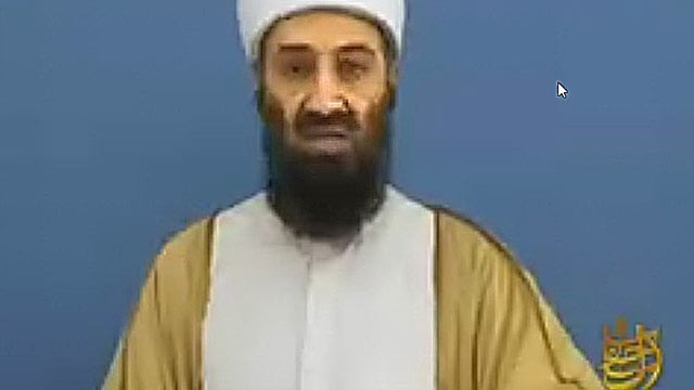 PHOTO: In a newly released video, the now-deceased leader of al Qaeda, Osama bin Laden, warns the American people of the dangers of capitalism and the military-industrial complex.
