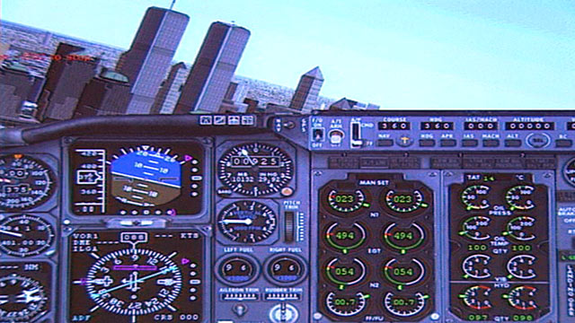 PHOTO: Flight simulation software stills that the Twin Towers hijackers used shows planes approaching the towers in New York City.