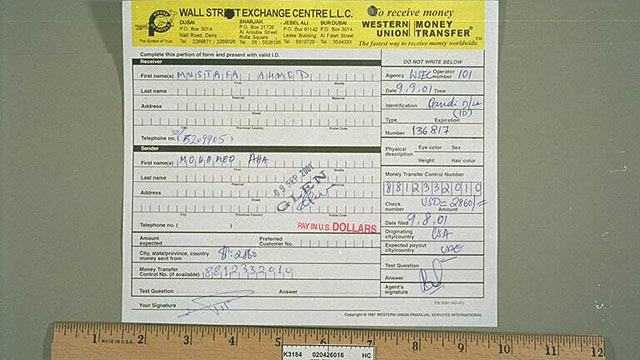 PHOTO: Atta's Western Union money transfer slip.