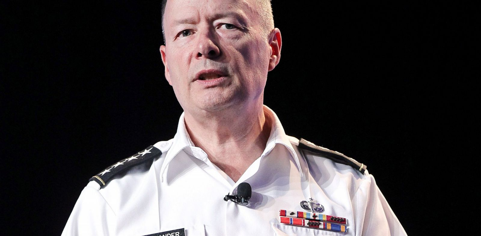 PHOTO: Army General Keith Alexander, head of the National Security Agency delivers a keynote address at the Black Hat hacker conference on July 31, 2013, in Las Vegas.