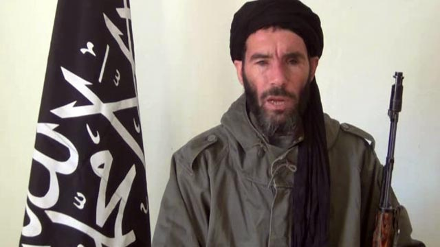 PHOTO: Militia leader Moktar Belmoktar, is seen from a video clip, announcing the capture of 41 foreigners from the