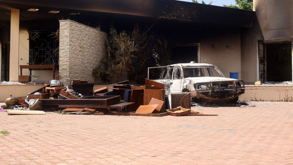 PHOTO: A burnt car is seen after an attack on the U.S. Consulate in Benghazi, Libya, Sept. 12, 2012.