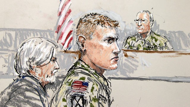 PHOTO: U.S. Army Staff Sgt. Calvin Gibbs, center, is shown in this courtroom sketch, Nov. 9, 2010.