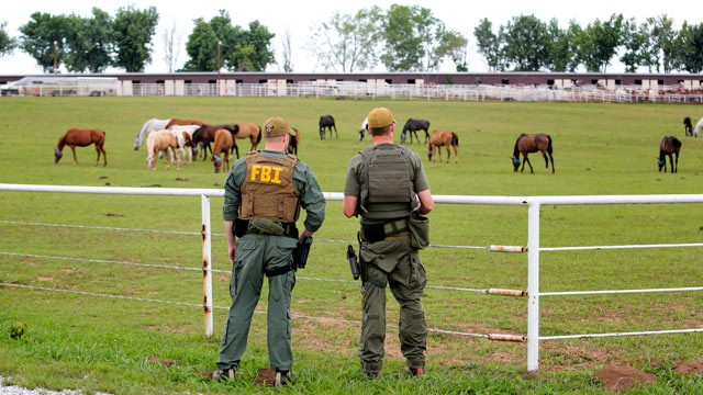 PHOTO: Federal agents raided a sprawling ranch in Lexington, Okla. and a prominent quarter horse track in New Mexico, June 12, 2012.