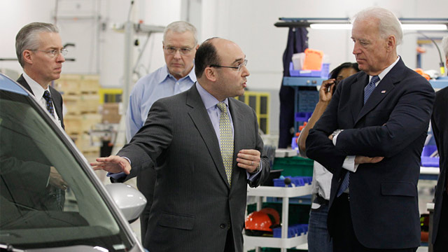 PHOTO: Joe Biden at EnerDel plant