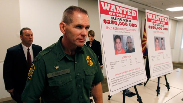 PHOTO: Richard Barlow, front, U.S. Customs and Border Protection Border Patrol, James L. Turgal, Jr., FBI Special Agent in Charge, and Laura E. Duffy, United States Attorney Southern District of California, leave a news briefing after it was announced tha
