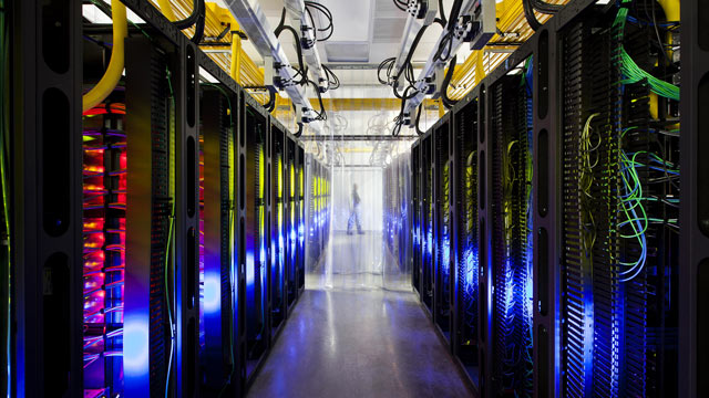 PHOTO: Routers and switches in Googles data center in Council Bluffs, Iowa, allow Googles data centers to talk to each other.