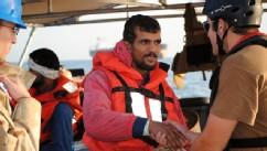 PHOTO: An Iranian mariner greets a U.S. Coast Guardsman aboard the U.S. Coast Guard Cutter Monomoy on Jan. 10, 2012 in the Persian Gulf.