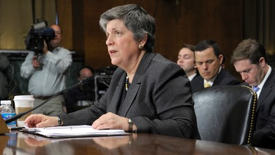 PHOTO: Homeland Security Secretary Janet Napolitano testifies on Capitol Hill in Washington, April 25, 2012, before the Senate Judiciary Committee.