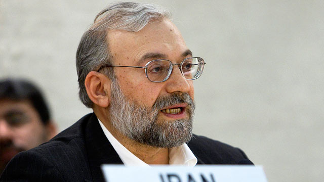 PHOTO: Mohammad Javad Larijani, Secretary General of the High Council for Human Rights of the Islamic Republic of Iran, delivers his speech during