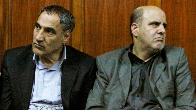 PHOTO: Iranian nationals Sayed Mansour Mousavi, left, and Ahmad Abolfathi Mohammad, right, are seen in this June 27, 2012 file photo in the Nairobi magistrates court in Nairobi, Kenya.